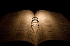 Anello di cerimonia nuziale del diamante su una bibbia Fotografia Stock Libera da Diritti