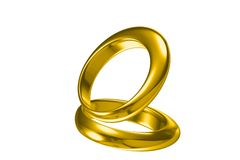 anello di cerimonia nuziale dell'oro 3d Immagini Stock Libere da Diritti