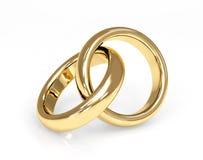 Anello di cerimonia nuziale dell'oro due 3d Fotografia Stock