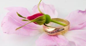 Anello di cerimonia nuziale della Rosa Fotografia Stock Libera da Diritti