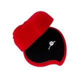Anello di diamante in casella rossa Fotografia Stock
