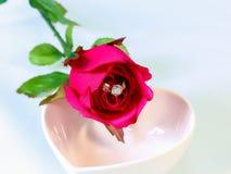 Anello di diamante con cuore rosso in una ciotola bianca di forma del cuore Fotografie Stock Libere da Diritti