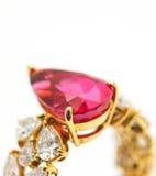Anello di diamante con il rubino Immagini Stock Libere da Diritti