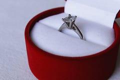 Anello di diamante d'argento Immagine Stock Libera da Diritti