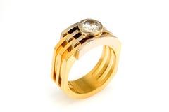 Anello di diamante dell'oro Fotografie Stock