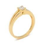 Anello di diamante di impegno su fondo bianco Fotografia Stock