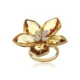 Anello di diamante giallo isolato su bianco Immagine Stock Libera da Diritti