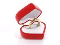 Anello di diamante nella casella del cuore Illustrazione di Stock