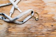 Anello di diamante su un laccetto fotografia stock
