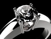 Anello di diamante sul nero Immagine Stock