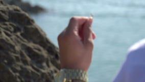 Anello di fidanzamento della spiaggia stock footage