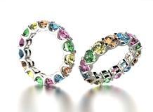 Anello di fidanzamento dorato con colore differente del diamante Fotografia Stock