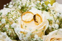 Anello di fidanzamento molto bello e rose bianche Fotografia Stock Libera da Diritti