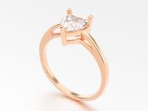 anello di fidanzamento rosa dell'oro dell'illustrazione 3D con spirito del cuore del diamante illustrazione vettoriale