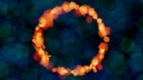 Anello di fuoco, anello arancio del tizzone del bokeh contro le luci verdi e blu sottili del bokeh Fotografie Stock Libere da Diritti