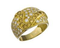 Anello di oro con brilliants fotografie stock