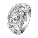 Anello di oro con i diamanti su fondo bianco Immagine Stock