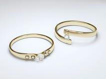 Anello di oro con il diamante Fotografia Stock