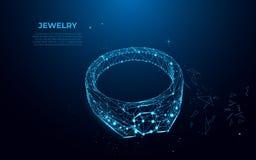 Anello di oro con un diamante dalle particelle, dalle linee e dai triangoli Siluetta poligonale del wireframe di gioielli illustrazione di stock