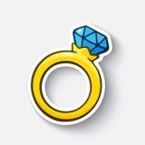 Anello di oro dell'autoadesivo del fumetto con un diamante Fotografia Stock