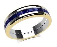 Anello di oro dello zaffiro Fotografie Stock
