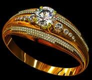 Anello di oro di impegno con la gemma dei gioielli Fotografia Stock Libera da Diritti