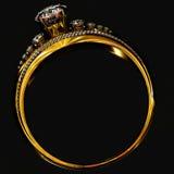 Anello di oro di impegno con la gemma dei gioielli Immagine Stock Libera da Diritti