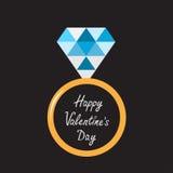 Anello di oro di nozze con il diamante blu. Valent felice Fotografia Stock
