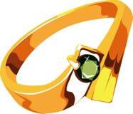 Anello di oro verde smeraldo Fotografia Stock Libera da Diritti