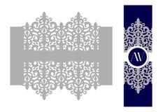 Anello di tovagliolo Supporto per l'invito del rotolo Il pizzo del taglio del laser per nozze invita la carta Progettazione grafi Fotografie Stock