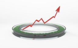 Anello di vetro realistico con il fondo di bianco del grafico di crescita dell'erba 3d Fotografie Stock Libere da Diritti