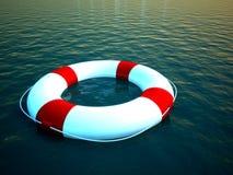 anello di vita 3d che galleggia sull'acqua come simbolo di guida Immagine Stock