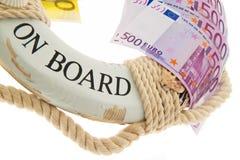Anello di vita e l'euro. Salvezza della Grecia. immagini stock