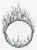 Anello disegnato a mano del fuoco Immagine Stock