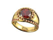 Anello dorato con il diamante Fotografia Stock Libera da Diritti