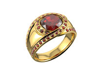 Anello dorato con il diamante Fotografia Stock