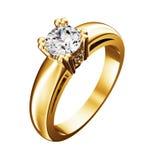 Anello dorato con il diamante isolato sul bianco Immagini Stock