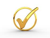 Anello dorato con il segno di spunta Immagine Stock
