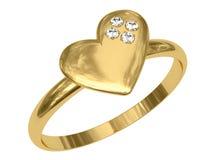 Anello dorato sotto forma di cuore con i diamanti Immagini Stock