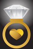 Anello e cuore di diamante Fotografia Stock