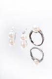 Anello ed orecchino della perla Immagini Stock Libere da Diritti