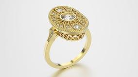 anello etnico dell'oro dell'illustrazione 3D con i diamanti e l'ornamento Fotografia Stock Libera da Diritti