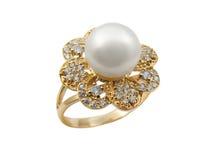 Anello femminile elegante dei monili con la perla Immagine Stock Libera da Diritti