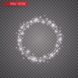 Anello leggero di vettore La struttura brillante rotonda con le luci spolvera le particelle della traccia isolate su fondo traspa Immagini Stock