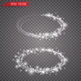 Anello leggero di vettore La struttura brillante rotonda con le luci spolvera le particelle della traccia isolate su fondo traspa Fotografie Stock