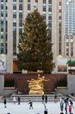Anello New York City del pattino di ghiaccio del Rockefeller Fotografie Stock Libere da Diritti