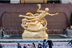 Anello New York City del pattino di ghiaccio del Rockefeller Immagini Stock Libere da Diritti