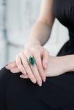 Anello verde smeraldo Fotografia Stock Libera da Diritti