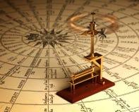 Anemômetro de giro no mapa dos ventos Foto de Stock