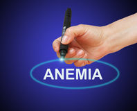 Anemia Concept. Writing word  Anemia with marker on gradient background made in 2d software Royalty Free Stock Images